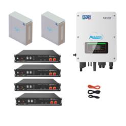 KIT Ibrido Inverter Zucchetti + batteria Pylontech 9,6KWh Litio + Cavi + Box 4 batterie