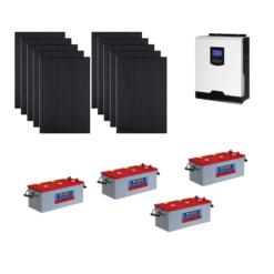 Kit Solare Isola 3100Wp Inverter 220V 5Kw 48V regolatore mppt batterie 200Ah Nba Pannelli 310W monocristallini