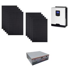 Kit Solare Isola 3100Wp Inverter 220V 5Kw 48V regolatore mppt batteria Condesatori 3,55Kwh Pannelli 310W monocristallini