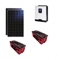 Kit Solare Isola 560Wp Inverter 220V 1Kw 12V regolatore mppt batterie 200Ah Zenith Pannelli 280W Policristallini