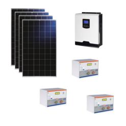 Kit Solare Isola 1120Wp Inverter 220V 1Kw 12V regolatore mppt batteria condesatori 1,5Kwh Pannelli 280W Policristallini