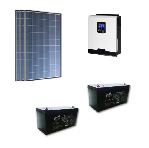 Kit Solare Isola 1050Wp Inverter 220V 1Kw 12V regolatore mppt batteria Gel 400Ah Pannelli 350W Policristallini