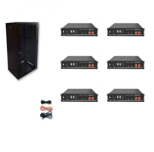 Kit Accumulo Armadio 24U + Batterie Pylontech US2000B plus batteria litio 48V 14,4Kwh + cavi