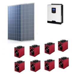 Kit Solare Isola Baita 3,135kwp Inverter 3KW con regolatore 60A mppt Modulo Policristallino 285W batterie Agm 245Ah