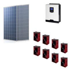 Kit Solare Isola Baita 3,190kwp Inverter 3KW con regolatore 60A mppt Modulo Policristallino 290Wp batterie Agm 410Ah