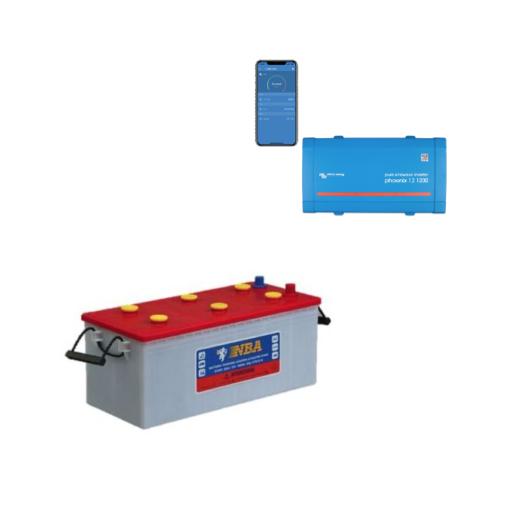 Kit Inverter Victron Energy Phoenix VE.Direct 12V 250VA onda pura 12/250 Batteria 200Ah Nba