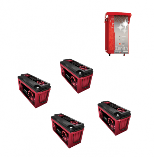 Kit Caricabatterie ZHF2430 24V 30A automatico ad alta frequenza+ batterie Zenith 12V 640Ah