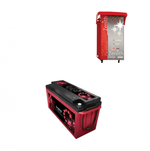 Kit Caricabatterie ZHF1212 12V 12A automatico ad alta frequenza + batterie Zenith 12V 160Ah