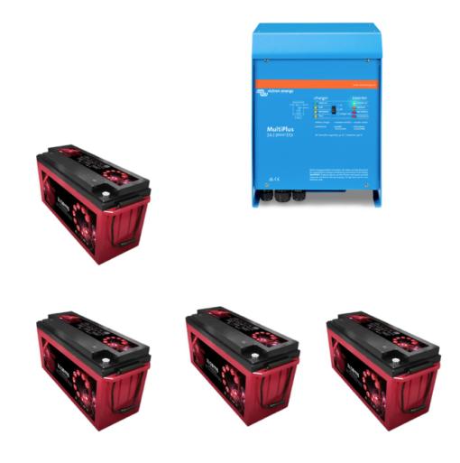 Kit Inverter Victron energy 48V 3000VA caricabatterie PMP483021010 Batteria Zenith 200Ah