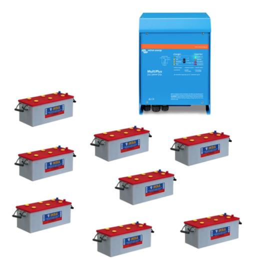 Kit Inverter Victron energy 48V 5000VA caricabatterie PMP485021010 Batteria NBA 200Ah 7TG12N