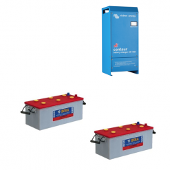 Kit 24V Caricabatterie Caricatore Centaur 24V 16A 24/16 3 uscite Victron Energy CCH024016000 + Batterie NBA 200Ah