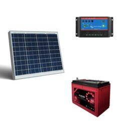 Kit Regolatore di carica BlueSolar 5A PWM-Light 12/24V Victron Energy SCC010005000 + pannello 50Wp + batteria 100A