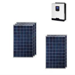 Kit Ibrido 1,5KWp Inverter 3Kw pannelli solari Moduli Policristallini 285Wp 5 busBar 60 celle E solar M