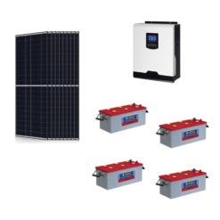 KIT Ibrido 3KWp Inverter 3KW Batterie Tubolare NBA 200Ah Pannello Solare Jinko 340W 24V Fotovoltaico