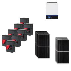 KIT Ibrido 3KWp Inverter 3,6KWh Batterie AGM Luminor 808000Ah Pannello Solare jinko 440W 24V Fotovoltaico