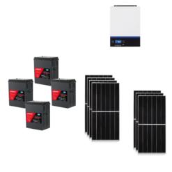 KIT Ibrido 3KWp Inverter 3,6KWh Batterie AGM Luminor 400Ah Pannello Solare jinko 440W 24V Fotovoltaico