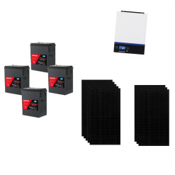 KIT Ibrido 4KWp Inverter 3,6KWh Batterie AGM Luminor 400Ah Pannello Solare jinko 325W Black 24V Fotovoltaico
