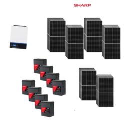 KIT Ibrido 8KWp Inverter 7,2KWh Batterie AGM Luminor 800Ah Pannello Solare Sharp 370W 24V Fotovoltaico