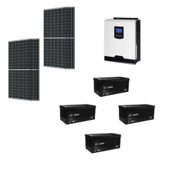 KIT Ibrido 3KWp Inverter 3KWh Batterie Agm 200Ah Deep Cycle Pannello Solare Sharp 330W 24V Fotovoltaico