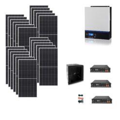 Kit Ibrido 8Kwp Inverter 7,2Kw pannelli 450Wp monocristallini munchen HALF CELL 7,2kwh batterie Litio