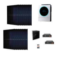Kit Ibrido 6Kwp Inverter 5,6Kw pannelli 335Wp monocristallini Munchen total black HALF CELL batterie Litio