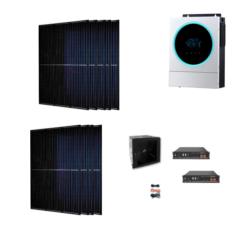 Kit Ibrido 3Kwp Inverter 5,6Kw pannelli 335Wp monocristallini Munchen total black HALF CELL batterie Litio