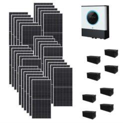 Kit Ibrido 10Kwp Inverter 10Kwh pannelli 345Wp monocristallini Qcells Q.PEAK DUO-G9 batterie Agm 400Ah