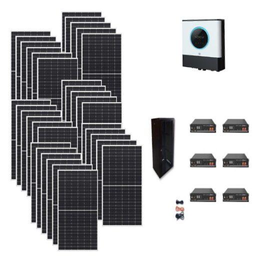 Kit Ibrido 10Kwp Inverter 10Kwh pannelli 345Wp monocristallini Qcells Q.PEAK DUO-G9 batterie Litio 14,4Kwh